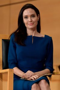 GENEVA, SWITZERLAND - MARCH 15:  UNHCR Special Envoy Angelina Jolie prepares to speak at the annual lecture of the Sergio Vieira De Mello Foundation held at the United Nations Office at Geneva on March 15, 2017 in Geneva, Switzerland. The Sergio Vieira de Mello Foundation is dedicated to promoting dialogue for the peaceful resolution of conflict.  (Photo by Harold Cunningham/Getty Images)