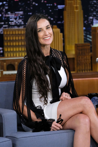 """NEW YORK, NY - JUNE 12: Actress Demi Moore visits """"The Tonight Show Starring Jimmy Fallon"""" at Rockefeller Center on June 12, 2017 in New York City. (Photo by Mike Coppola/Getty Images for NBC)"""