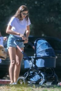 Los Angeles, CA  - *EXCLUSIVE*  - Supermodel Irina Shayk was spotted taking her newborn daughter Lea Cooper out for a stroll with her nanny in Los Angeles. Irina showed off her always toned legs in a pair of high-waisted denim shorts as she pushed her daughter's stroller.  Pictured: Irina Shayk  BACKGRID USA 12 JUNE 2017   BYLINE MUST READ: SPOT / BACKGRID  USA: +1 310 798 9111 / usasales@backgrid.com  UK: +44 208 344 2007 / uksales@backgrid.com  *UK Clients - Pictures Containing Children Please Pixelate Face Prior To Publication*